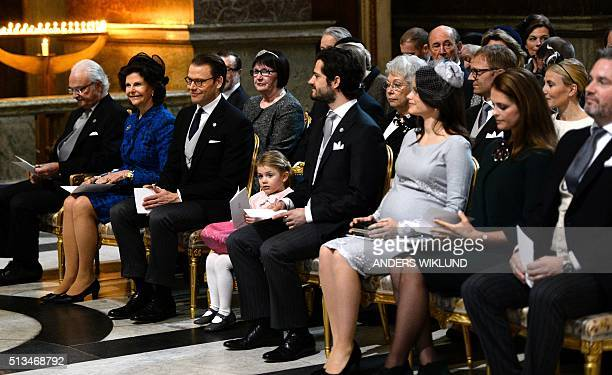 Front row from left Sweden's King Carl Gustaf Queen Silvia Prince Daniel Princess Estelle Prince Carl Philip Princess Sofia Princess Madeleine and...