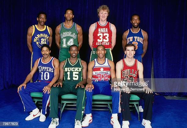 Front Row Norm Nixon Craig Hodges Leon Wood Kyle Macy Back Row Eric 'Sleepy' Floyd Dale Ellis Larry Bird and Trent Tucker pose for a portrait prior...