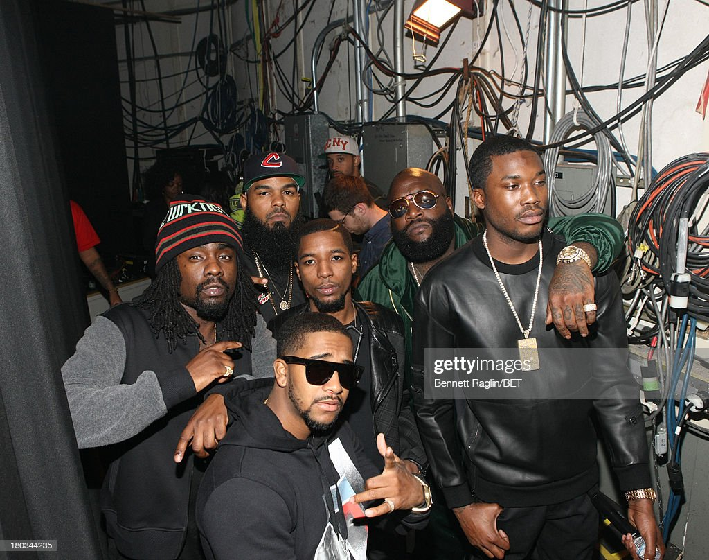 Front row Omarion Meek Mill Wale Rockie Fresh Rick Ross and Stalley visit 106 Park at 106 Park Studio on September 9 2013 in New York City