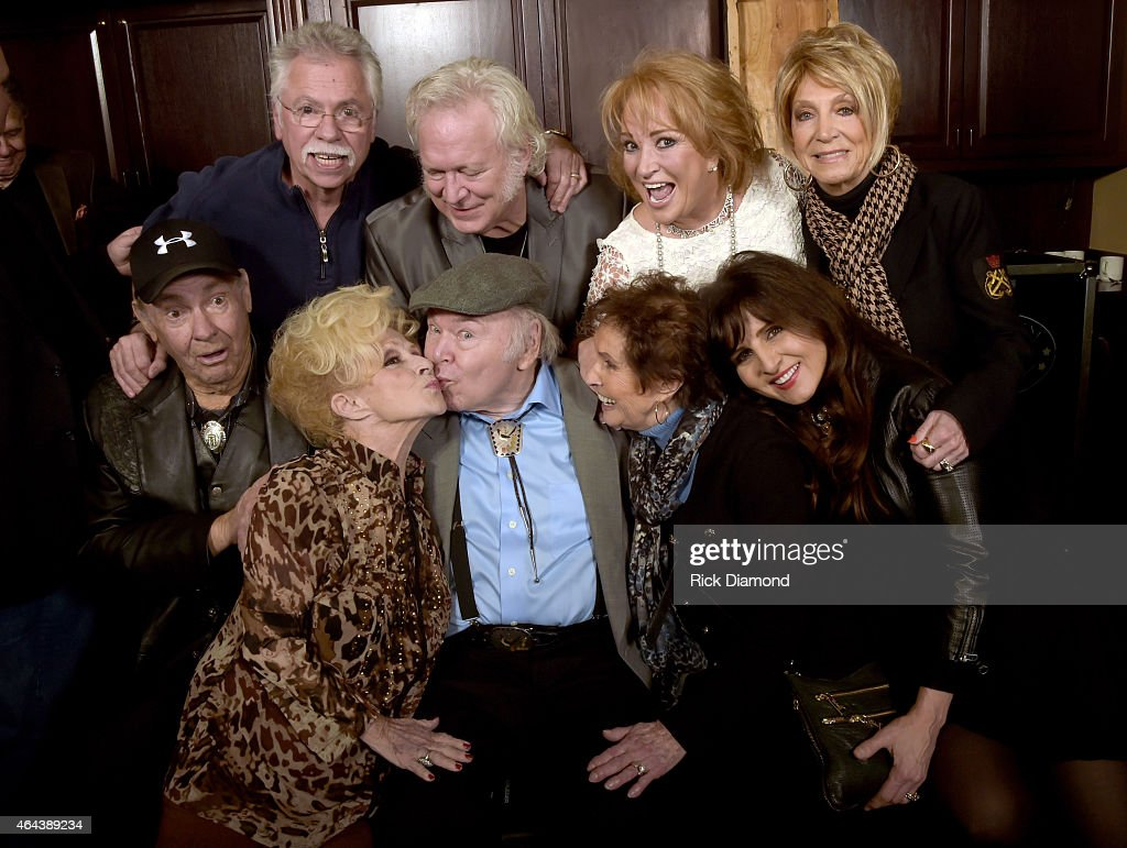 Recording Artists Jim Ed Brown, Brenda Lee, Roy Clark, Jean Howard, Deborah Allen. Back row: Recording Artists, Joe Bosnall (Oak Ridge Boys), T.Graham Brown, Tayna Tucker and Jeannie Seely attend Webster Public Relations - Unofficial Kick-Off CRS Event - Legendary Lunch at The Palm Restaurant on February 25, 2015 in Nashville, Tennessee.