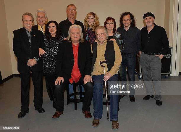 Front Row Recording Artists Ricky Skaggs and Guy Clark Back Row L/R Buck White of The Whites Del McCoury Sharon White of The Whites Bruce Hornsby...