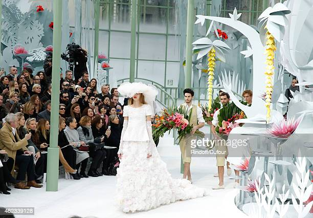 Front row watches the Married Model during the Chanel show as part of Paris Fashion Week Haute Couture Spring/Summer 2015 on January 27 2015 in Paris...