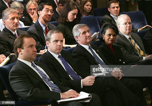 Front row White House Press Secretary Scott McClellan Communication Director Dan Bartlett Chief of Staff Andrew Card National Security Advisor...