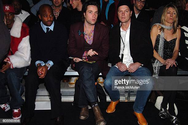 Front Row with Cam'ron Damon Dash Rufus Wainwright and Kim Gordon attend Marc Jacobs Fall 2006 Fashion Show at NY State Armory on February 6 2006 in...