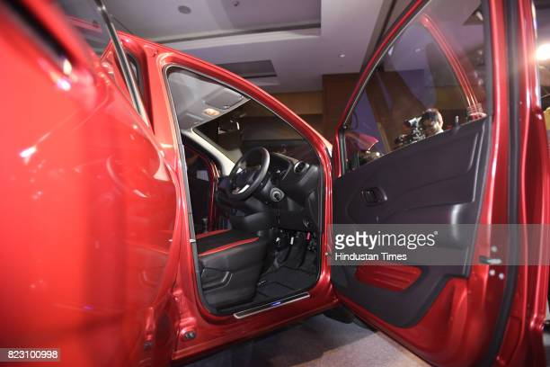 Front seat view of new Datsun RediGo with one litre petrol engine on display during its launch on July 26 2017 in New Delhi India New Datsun rediGo...
