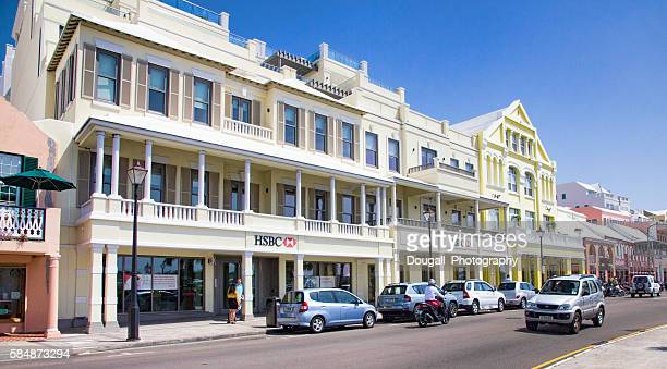 Front Street, Hamilton Bermuda with Colourful Stores Along Main Street