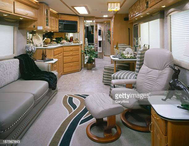 Front to rear view of Motorhome interior