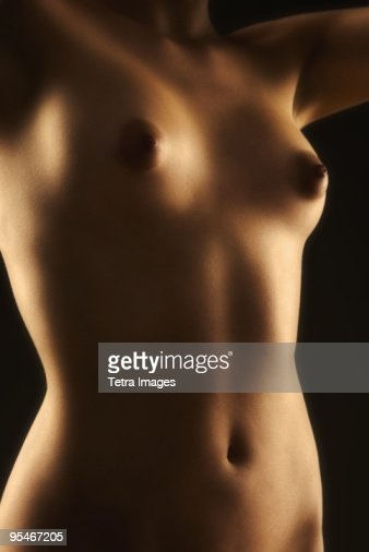 Front torso of nude woman : Stock Photo