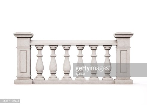 Front view marble balustrade on white background. 3d rendering. : Stock Photo