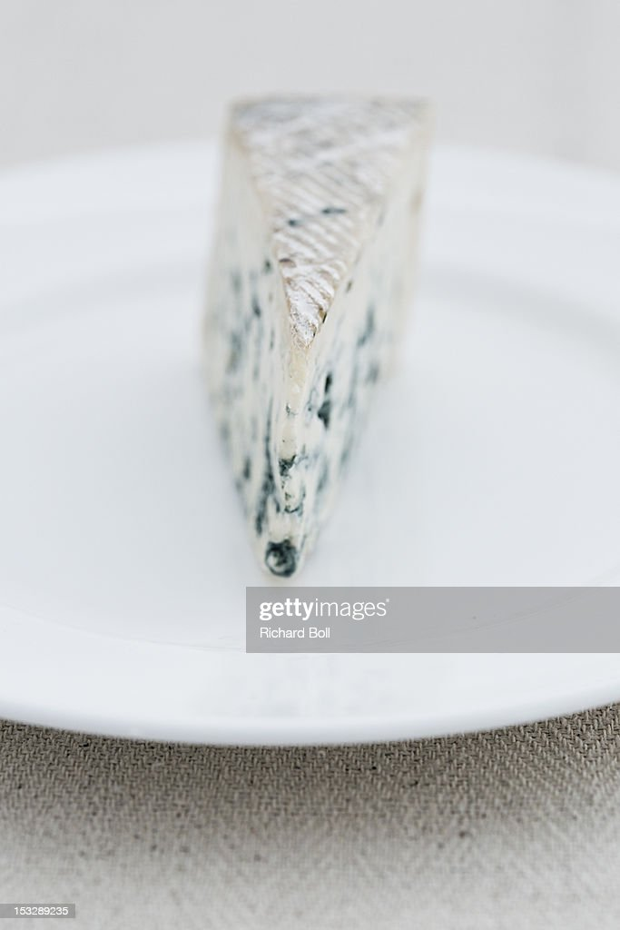 Front view of a blue French cheese : Stock Photo