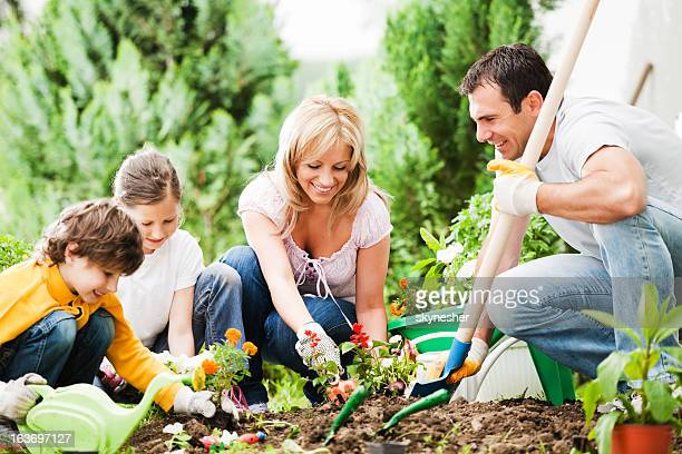 Front view of a family gardening together