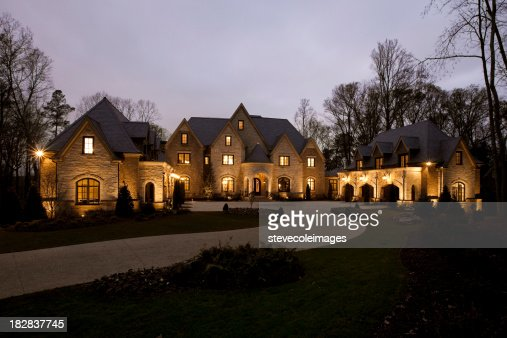 Front View of a Mansion at Dusk