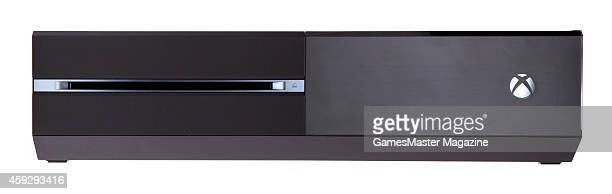 Front view of a Microsoft Xbox One video game console photographed on a white background taken on September 12 2013
