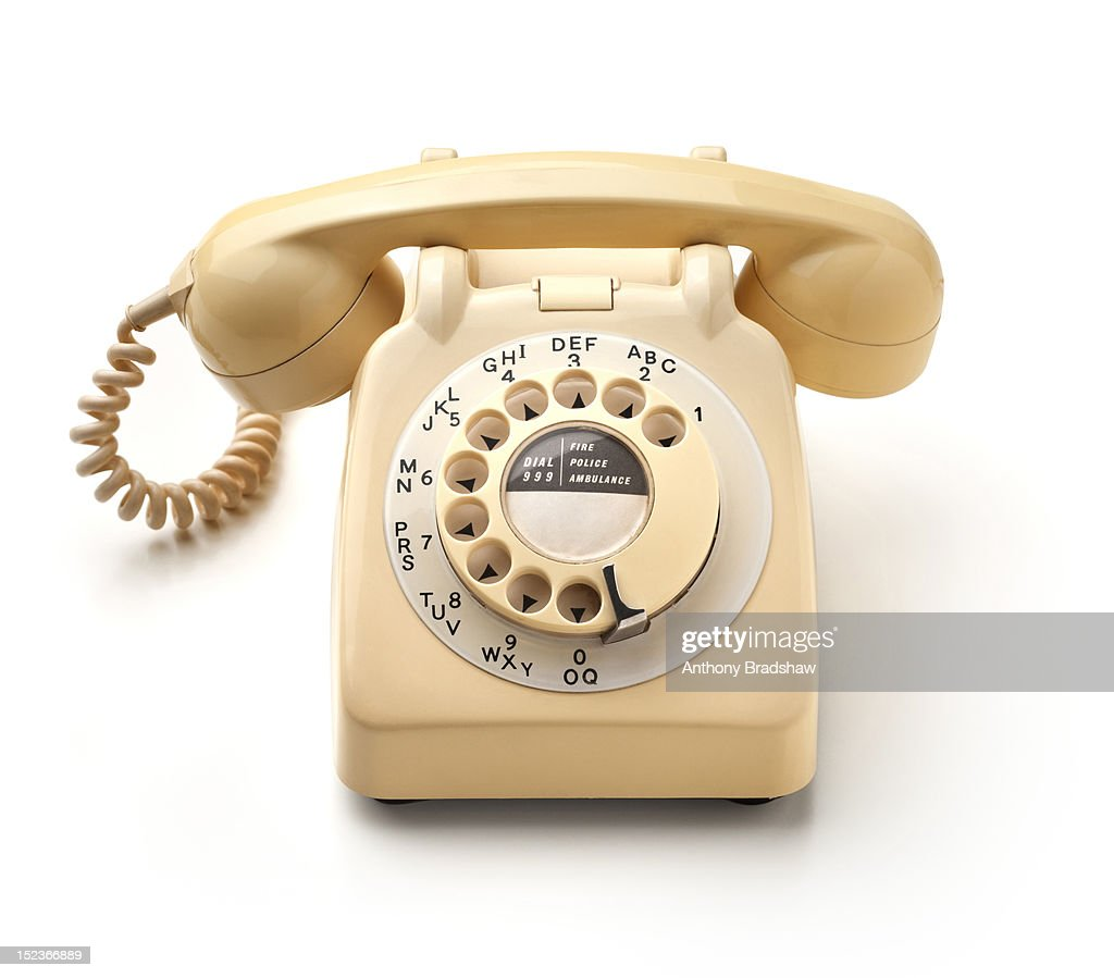Front view of a retro style telephone : Stock Photo