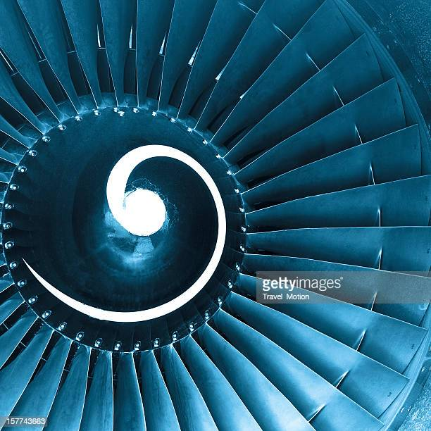 Front view of aircraft jet engine turbine