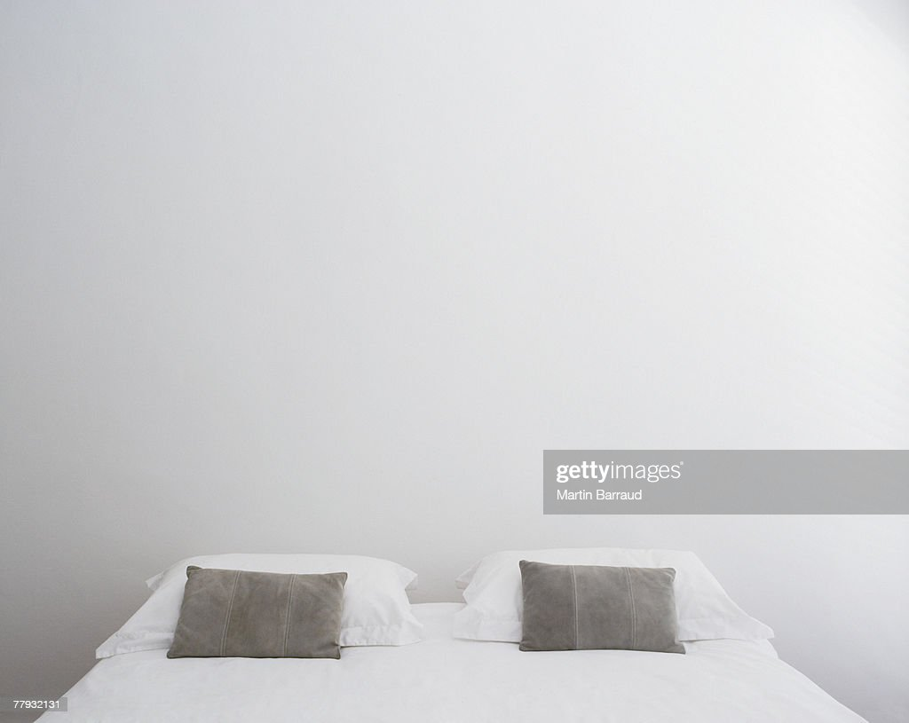 Front view of double bed : Stock Photo