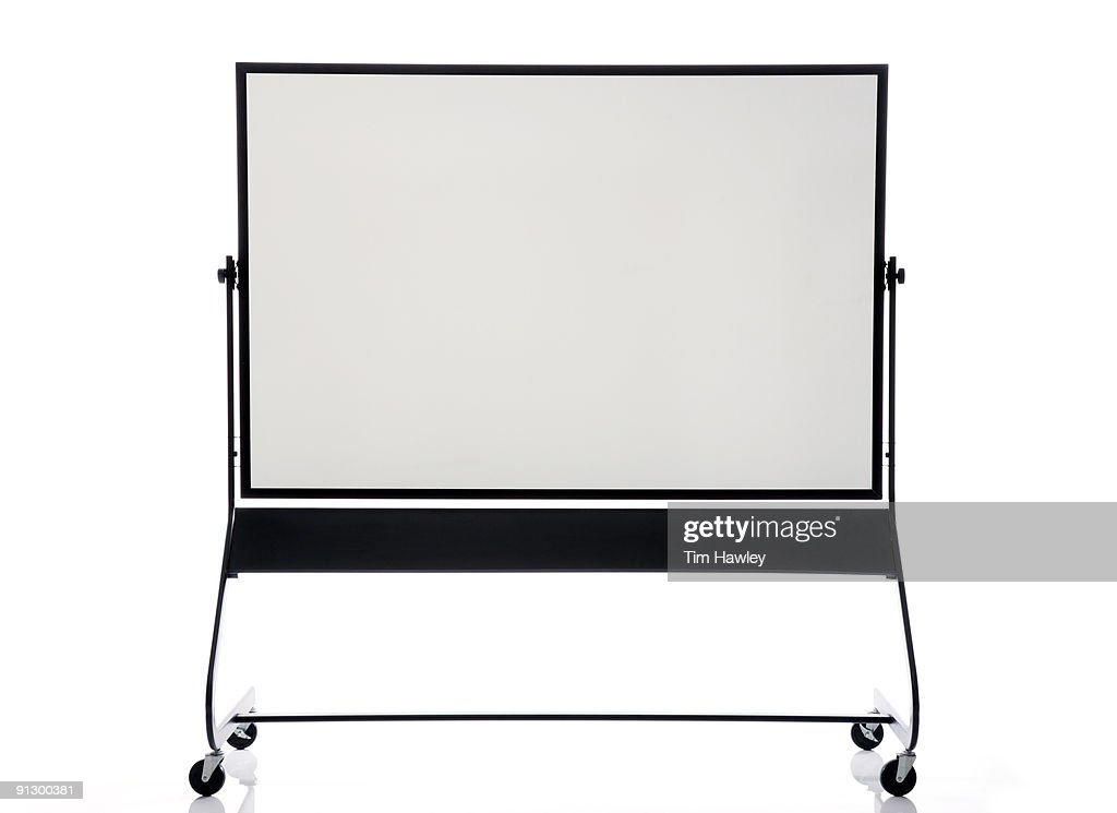 Front view of dry erase board on rollers : Stock Photo