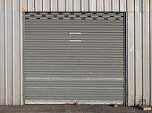 front view of grunge close shutter door or rolling door