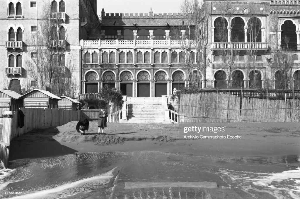 Front view of 'Hotel Excelsior' in winter Lido Venice 1951