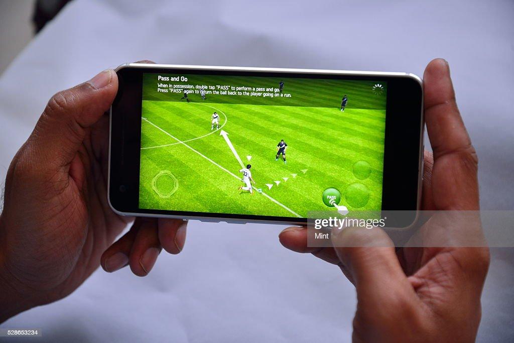 Front View of InFocus M812 Smartphone on October 22, 2015 in New Delhi, India.