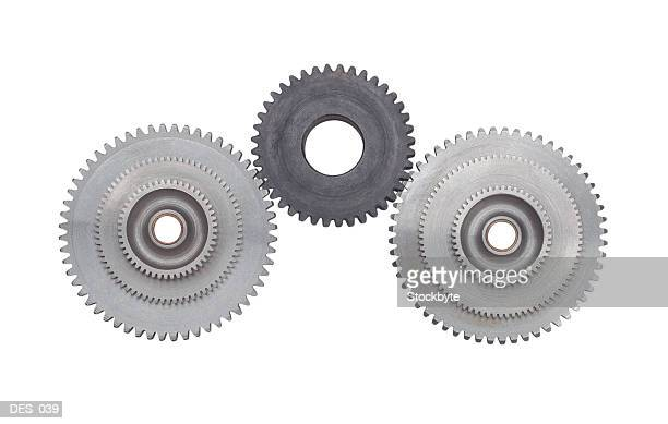 Front view of interlocking gear wheels