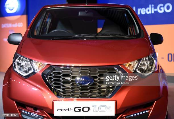 Front view of new Datsun RediGo with one litre petrol engine on display during its launch on July 26 2017 in New Delhi India New Datsun rediGo will...