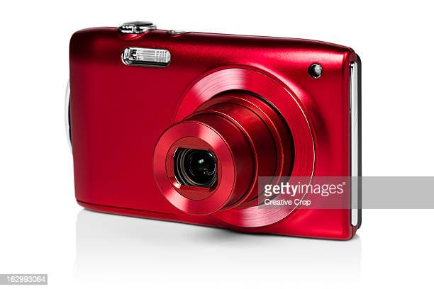 Front view of red digital camera