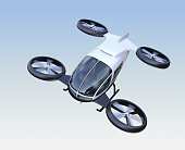 Front view of self-driving passenger drone flying in the sky. 3D rendering image. Original design.