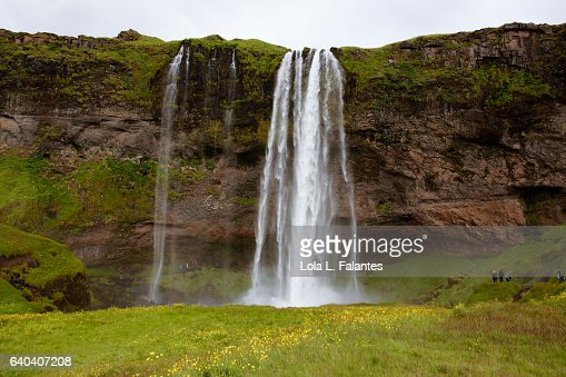 Front view of seljalandsfoss waterfall : Foto de stock