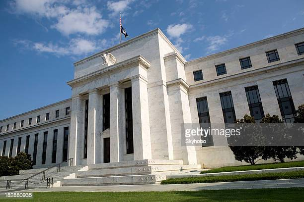 Front view of the US Federal Reserve with sky in distance