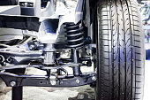 Front wheel of drive car with new tire and Shock Absorber