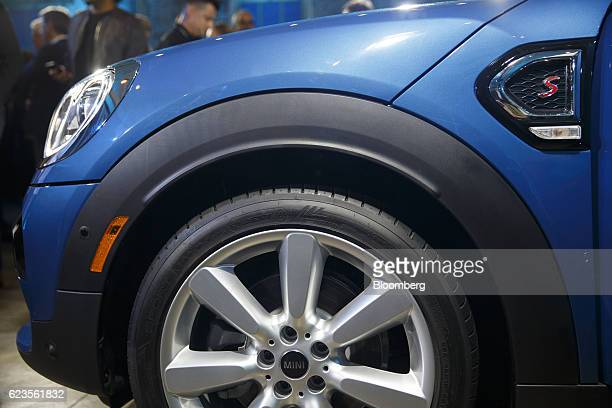 A front wheel of the Bayerische Motoren Werke AG MINI Countryman compact sports utility vehicle is displayed during an event in Los Angeles...