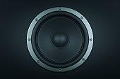 Frontal image of audio speaker - 3d render