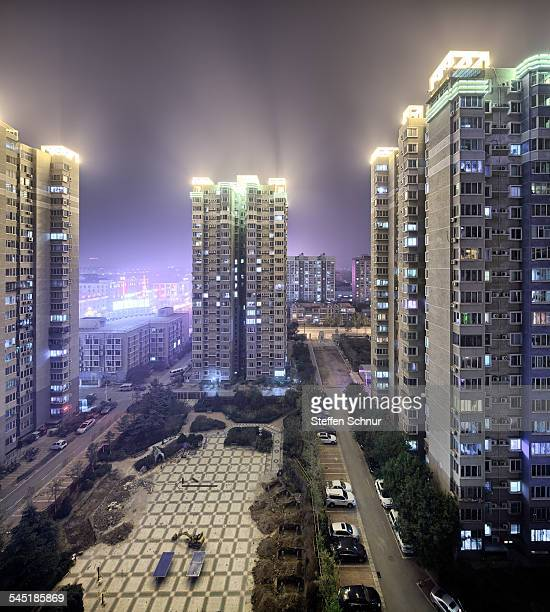 Frontal shot of house settlement China Beijing top