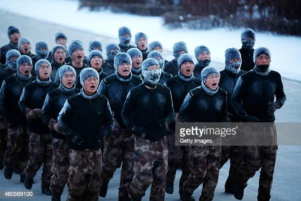 Frontier guards are seen training outside with the temperature of minus thirty degrees celsius on December 16 2014 in Heihe Heilongjiang province of...