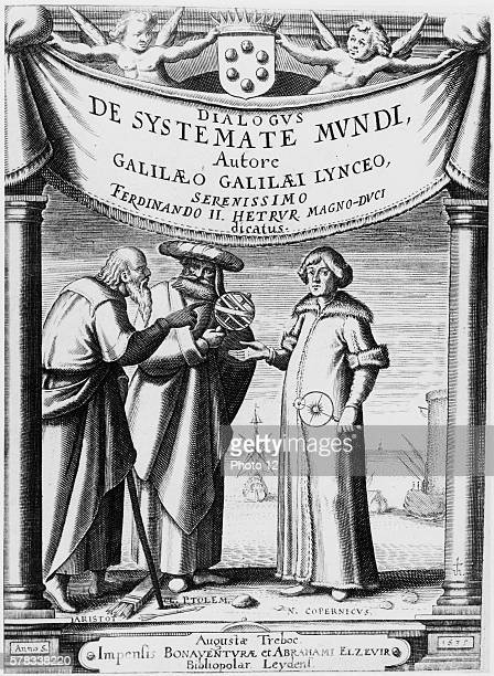 Frontipiece of 'Dialogue Concerning the Two Chief World Systems' written by Galileo in 1632 From left to right Aristotle Ptolemy and Copernicus...