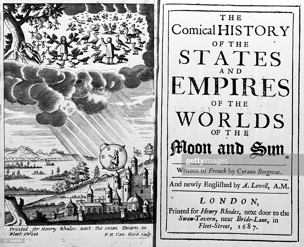Frontispiece and title page from the first English edition of Savinien Cyrano de Bergerac's 'The Comical History of the States and Empires of the...