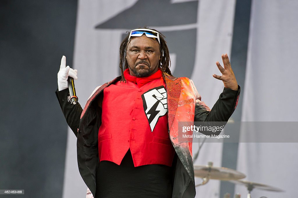 Frontman Benji Webbe of Welsh hard rock group Skindred performing live on the Stephen Sutton Main Stage at Download Festival on June 13, 2014.