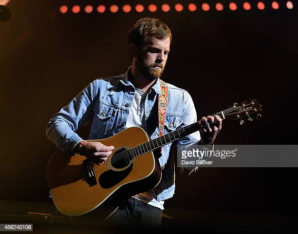 Frontman Caleb Followill of Kings of Leon performs during the band's Mechanical Bull tour at the MGM Resorts Village on September 27 2014 in Las...