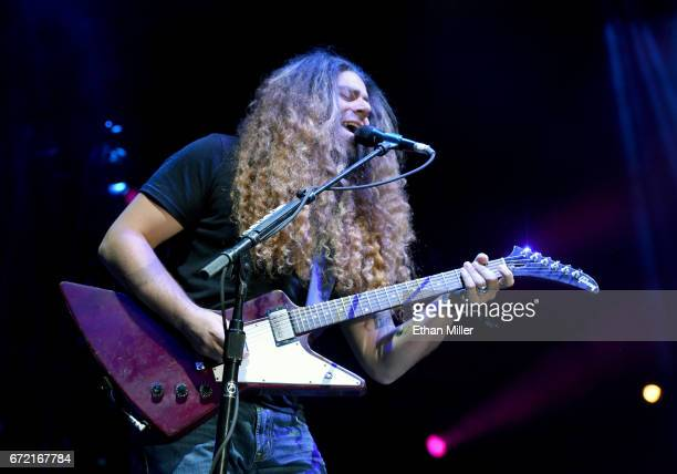 Frontman Claudio Sanchez of Coheed and Cambria performs during the Las Rageous music festival at the Downtown Las Vegas Events Center on April 21...