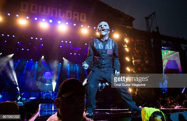 Frontman Corey Taylor of American heavy metal group Slipknot performing live on the Main Stage at Download Festival on June 12 2015