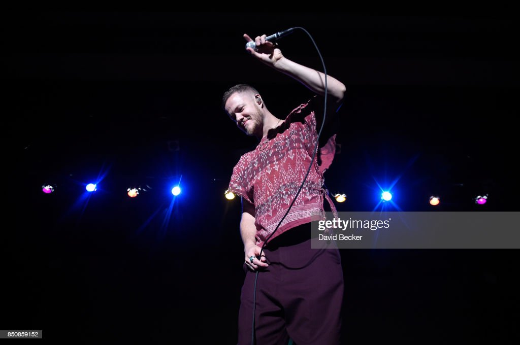 Frontman Dan Reynolds of Imagine Dragons performs after the band, joined by VH1 Save The Music Foundation, Life is Beautiful and Toyota, presented musical educational grants to three Las Vegas-area schools at Clark High School on September 21, 2017 in Las Vegas, Nevada.
