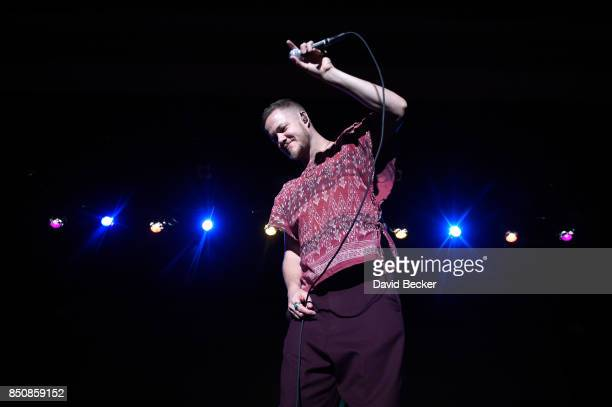 Frontman Dan Reynolds of Imagine Dragons performs after the band joined by VH1 Save The Music Foundation Life is Beautiful and Toyota presented...
