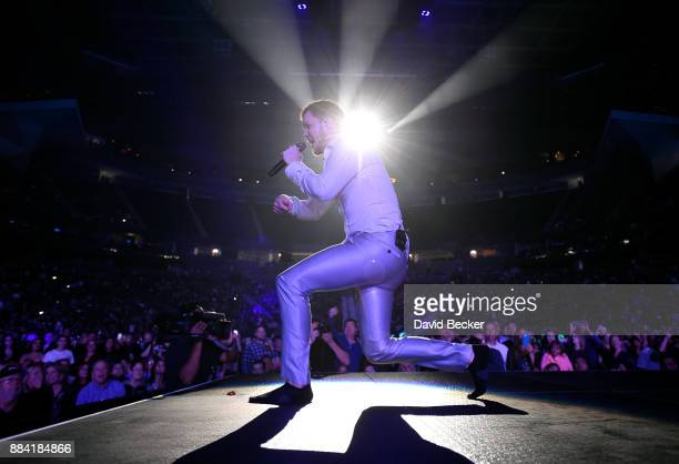 Frontman Dan Reynolds of Imagine Dragons performs at the Vegas Strong Benefit Concert at TMobile Arena to support victims of the October 1 tragedy on...