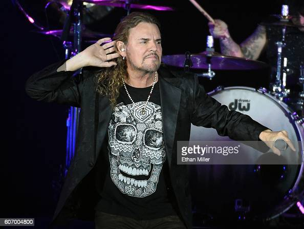 Frontman Fher Olvera of Mana performs during a stop of the band's Latino Power Tour at MGM Grand Garden Arena on September 16 2016 in Las Vegas Nevada