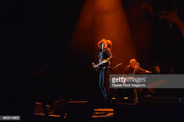 Frontman Joey Tempest and keyboardist Mic Michaeli of Swedish rock group Europe performing live on stage at the Hammersmith Apollo in London on April...