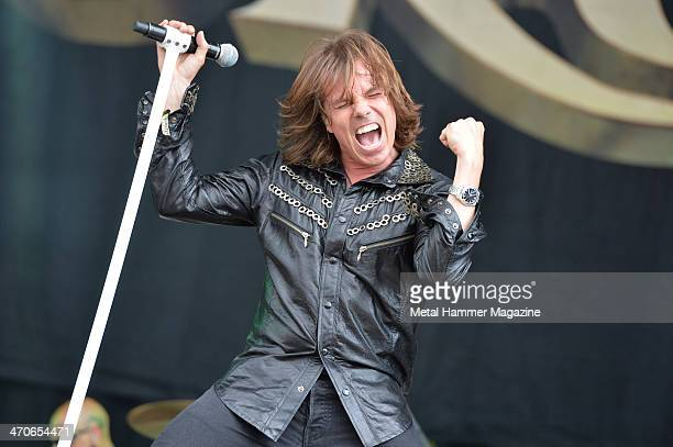 Frontman Joey Tempest of Swedish hard rock group Europe performing live on the Zippo Encore Stage at Download Festival on June 14 2013