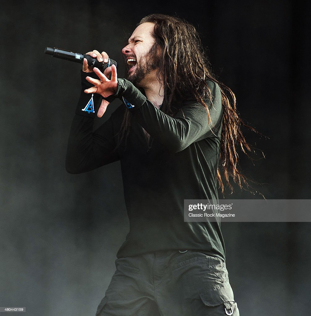 Frontman Jonathan Davis of American heavy metal group Korn performing live on the Main Stage at Download Festival on June 14, 2013.
