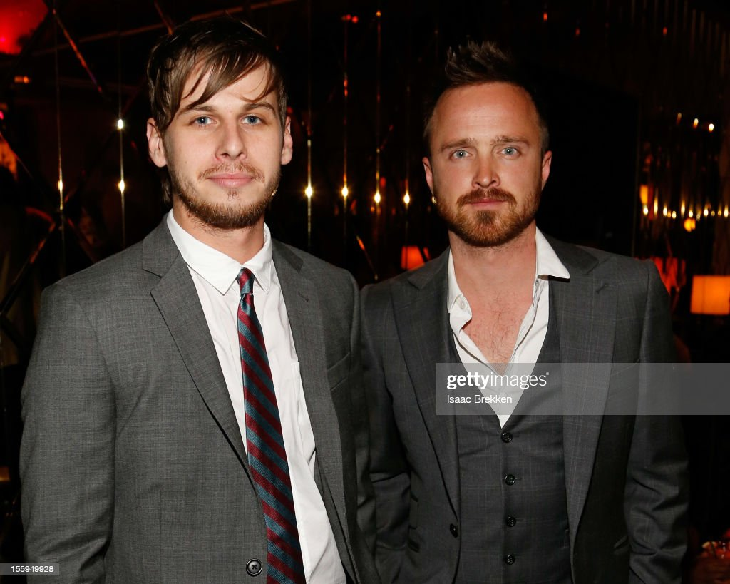 Frontman Mark Foster (L) of the band Foster the People and actor Aaron Paul attend the reception for the Las Vegas premiere of 'Zarkana by Cirque du Soleil' at the Gold Boutique Nightclub and Lounge at the Aria Resort & Casino at CityCenter on November 9, 2012 in Las Vegas, Nevada.
