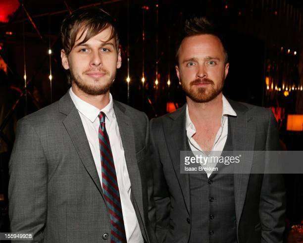 Frontman Mark Foster of the band Foster the People and actor Aaron Paul attend the reception for the Las Vegas premiere of 'Zarkana by Cirque du...